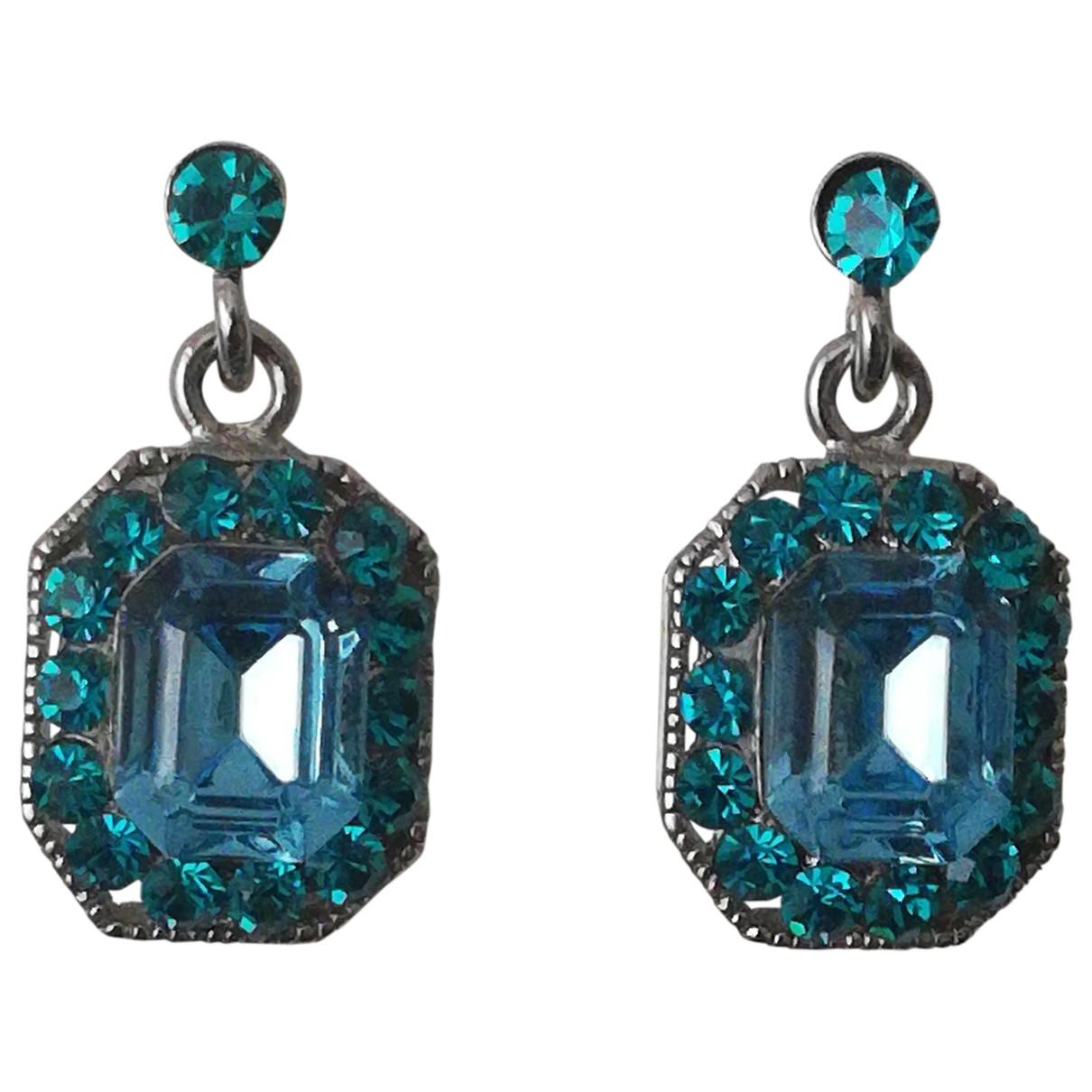 - Boucles doreilles Art Deco pour femme en metal - bleu