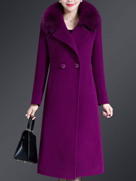 Milanoo Woman Coat Dark Navy Turndown Collar Long Sleeves Buttons Layered Retro Wrap Coat