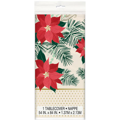 Nappe en plastique de Noël poinsettia rouge et or pour déco de fêtes, 84 x 54 pouces, 1ct