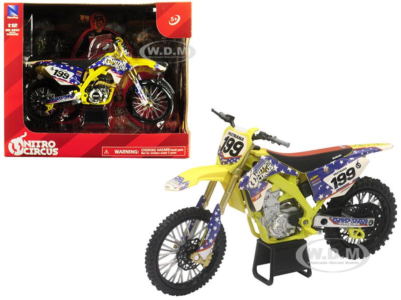 Suzuki RMZ450 Nitro Circus 199 Travis Pastrana Yellow/Blue 1/12 Diecast Motorcycle Model by New Ray