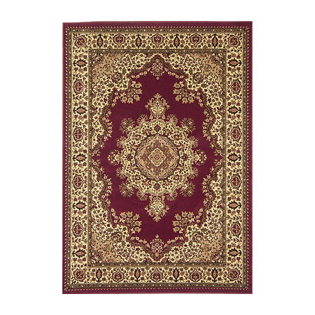 Castello Cora Traditional Medallion Area Rug, One Size , Red