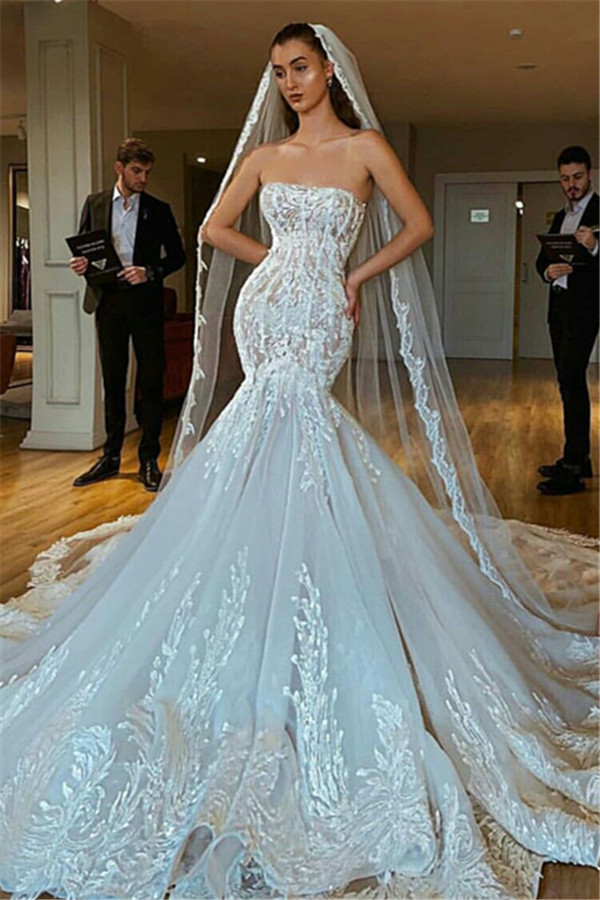 Sexy Strapless Mermaid Puffy Appliques Bridal Wedding Gowns