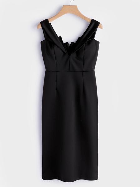 Yoins Black Backless Off Shoulder V-neck Midi Dress