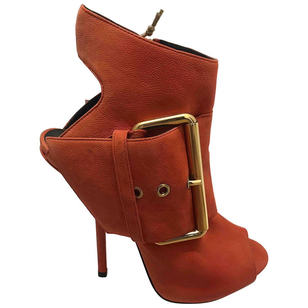 Giuseppe Zanotti \N Orange Suede Ankle boots for Women 38.5 EU