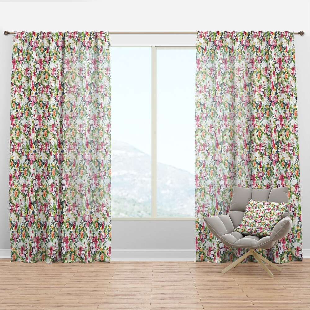 Designart Seamless Pattern red roses on White Floral Curtain Panel (50 in. wide x 84 in. high - 1 Panel)