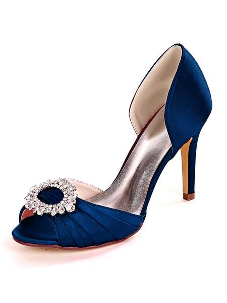 Milanoo Zapatos de novia de marfil Diamantes de imitacion de saten Peep Toe Tacon de aguja Zapatos de novia