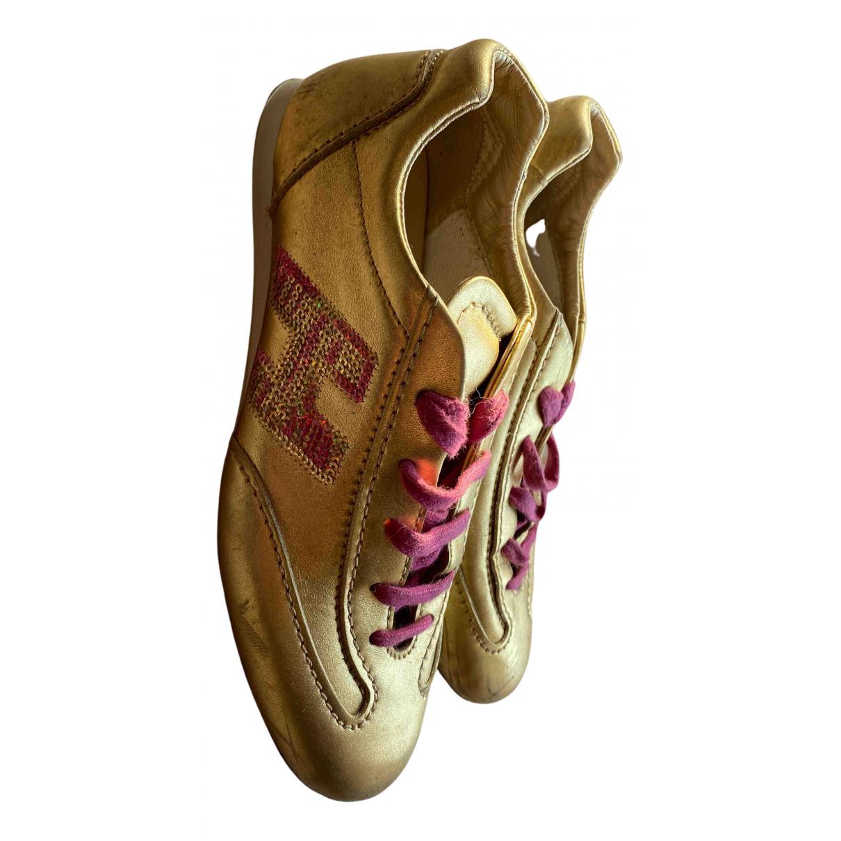 Hogan - Baskets   pour femme en cuir - dore