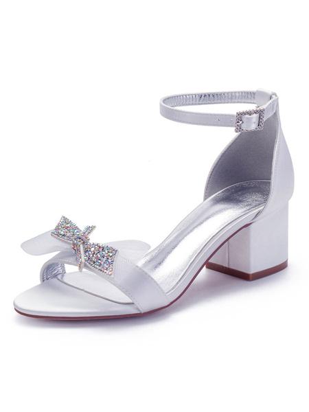 Milanoo Ivory Bridesmaid Shoes Satin Wedding Shoes Open Toe Rhinestones Chunky Heel Sandals