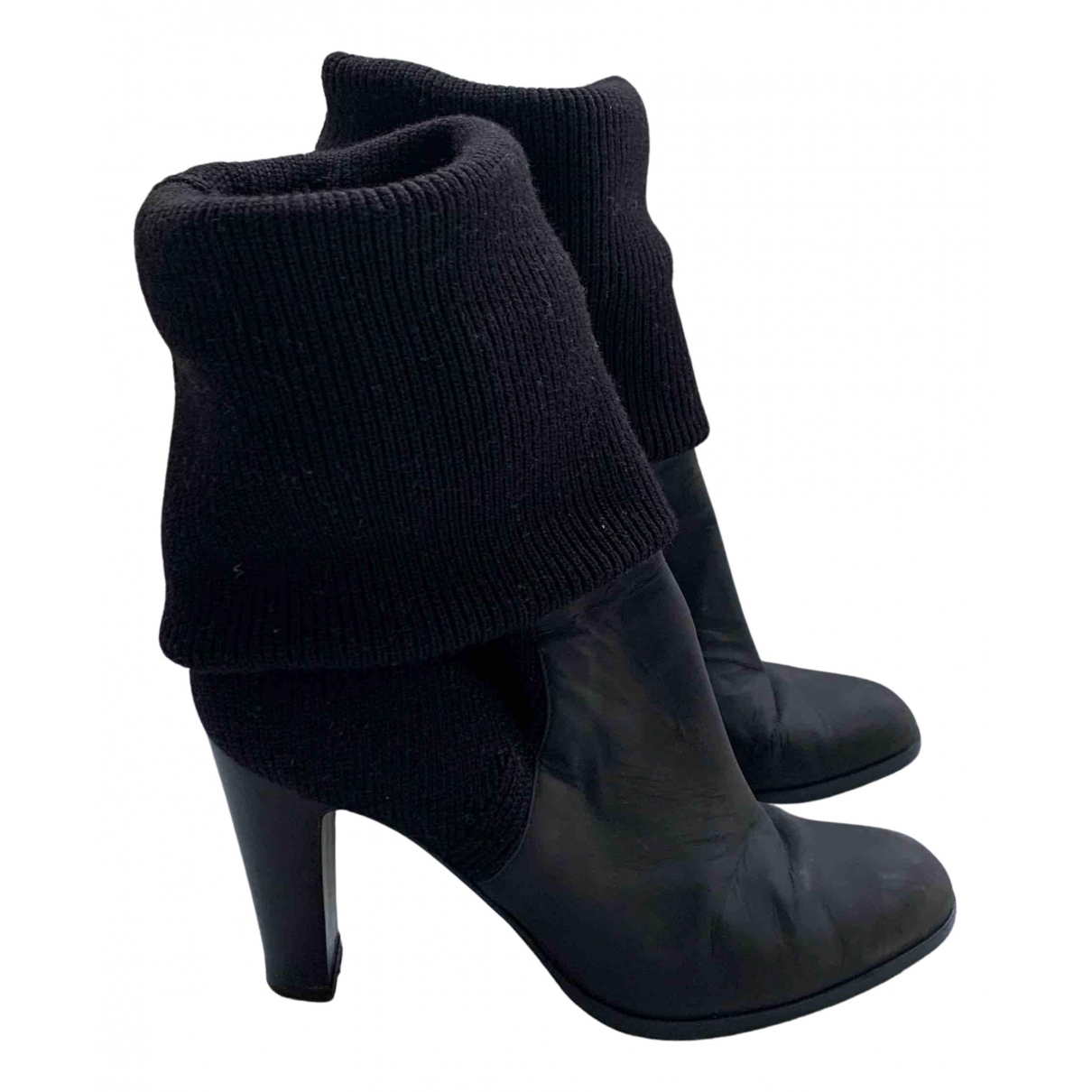 Sergio Rossi N Black Leather Ankle boots for Women 39 EU