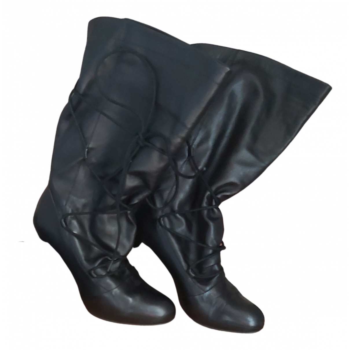 Armani Jeans N Black Leather Boots for Women 39 EU