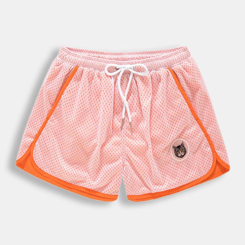 Mens Mesh Quick Dry Board Shorts Cat Patern Mesh Lining Loose Drawstring Mini Shorts With Pockets