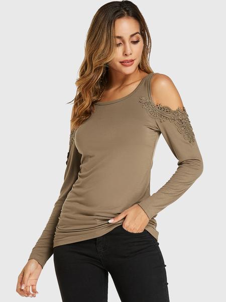 YOINS Khaki Crochet Lace Embellished Cold Shoulder Long Sleeves Tee