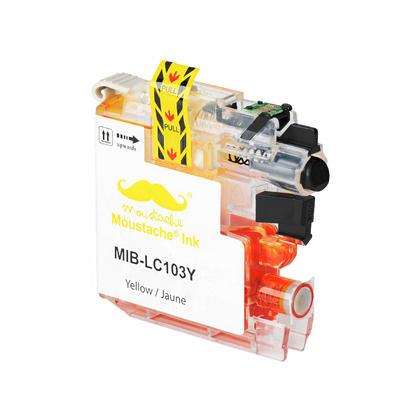 Compatible Brother LC103Y - LC103 jaune cartouche encre de Moustache, plus haut rendement de LC101Y