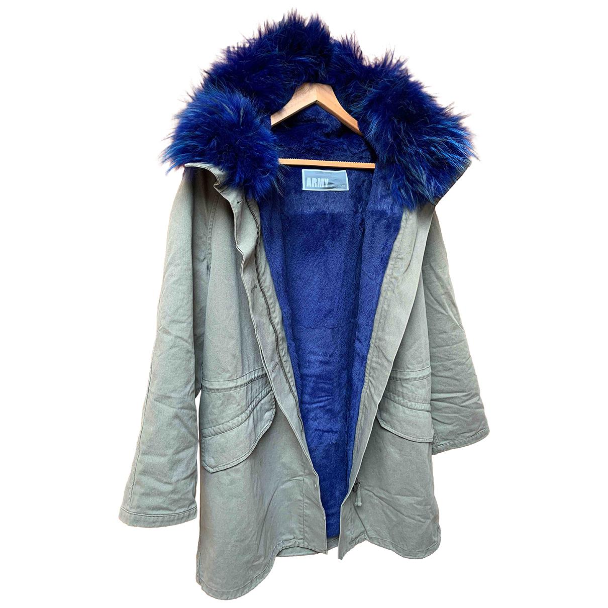 Yves Salomon - Manteau   pour femme en lapin - bleu