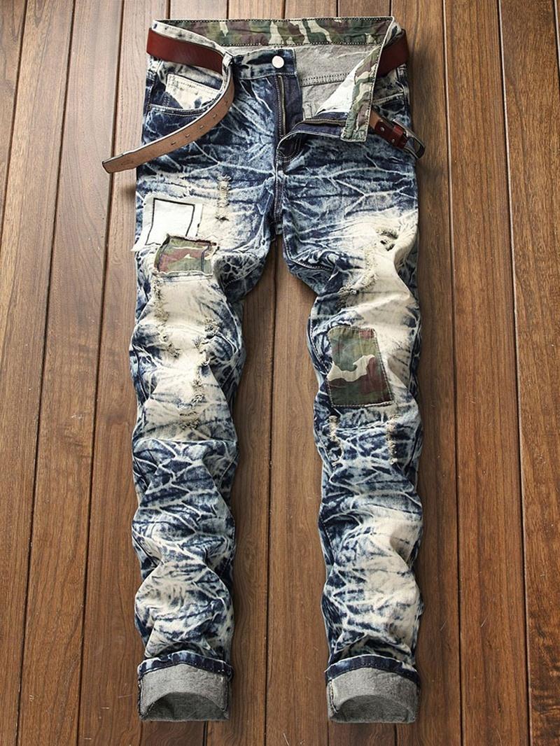 Ericdress Camouflage Straight Hole European Mid Waist Jeans