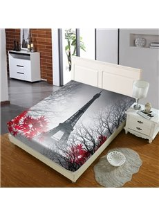 Eiffel Tower Behind Red Maple Leaves Reactive Printing 1-Piece Polyester Bed Cover / Mattress Cover