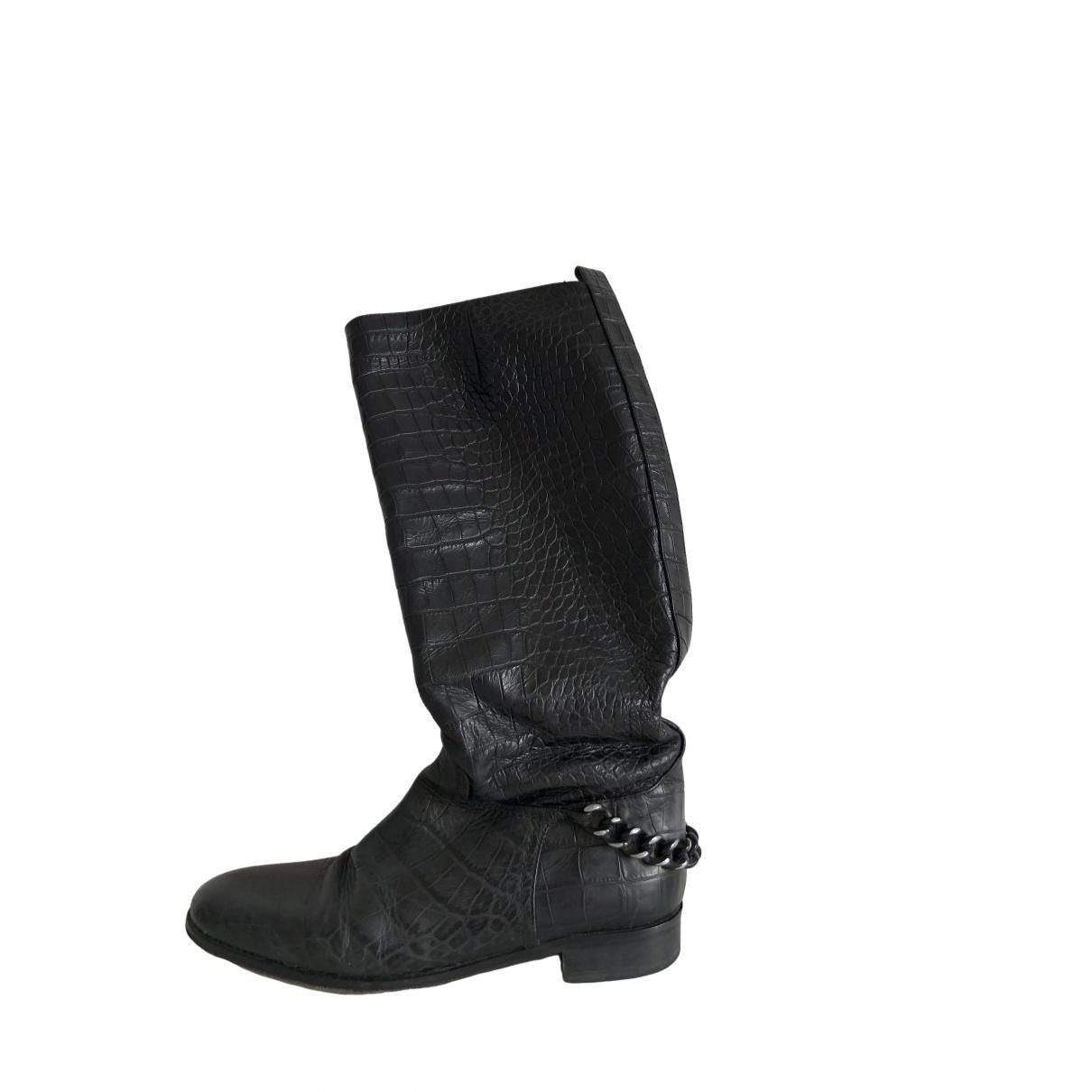 Patrizia Pepe \N Black Leather Boots for Women 39 EU