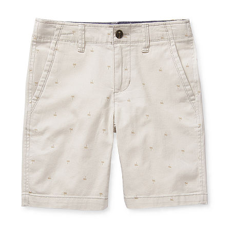 Arizona Little & Big Boys Stretch Adjustable Waist Chino Short, 12 , Gray
