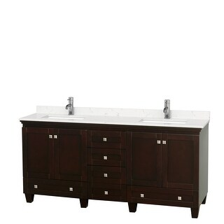Acclaim 72 Inch Double Vanity, Cultured Marble Top (Espresso, Light-Vein Carrara Cultured Marble)