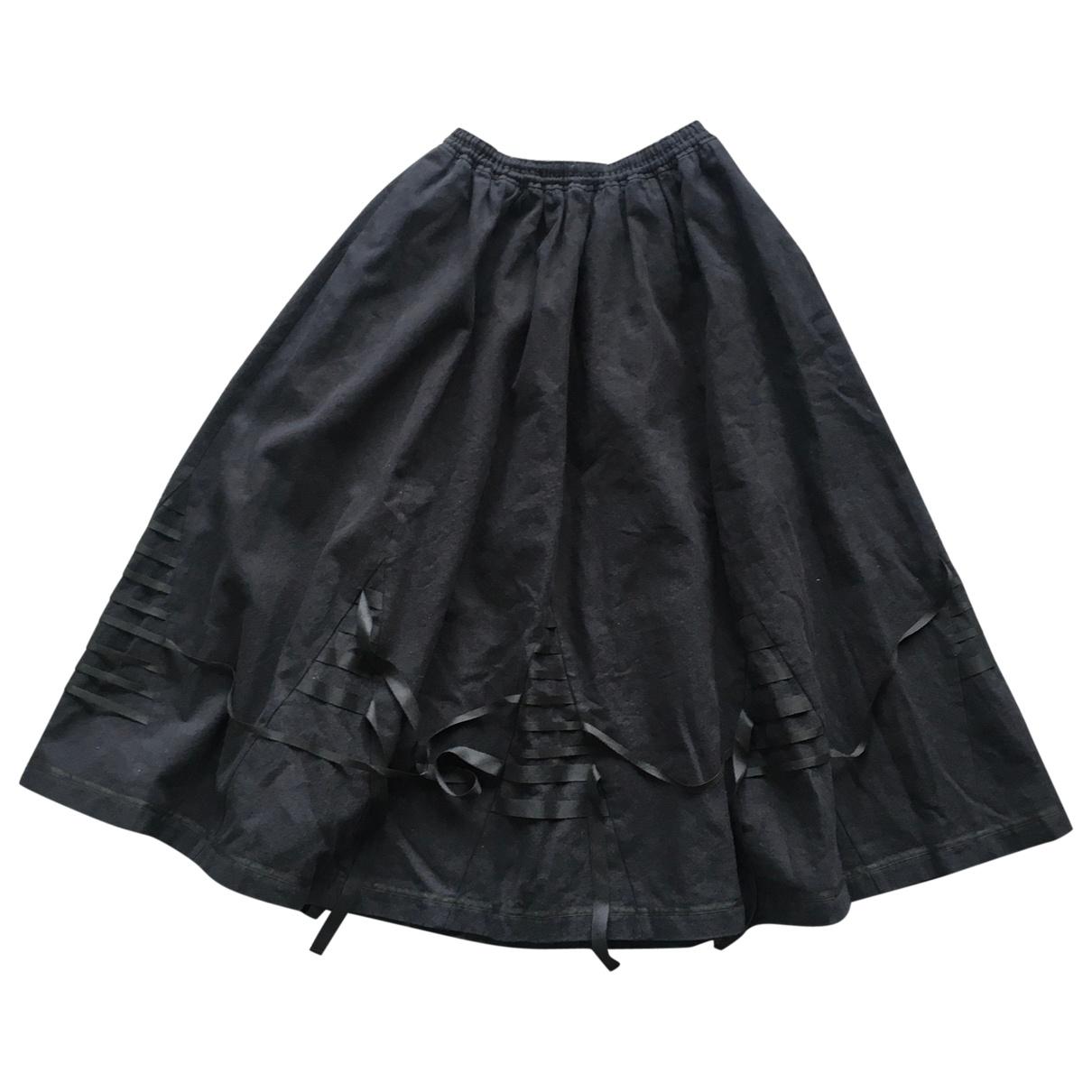 Renli Su - Jupe   pour femme en lin - noir