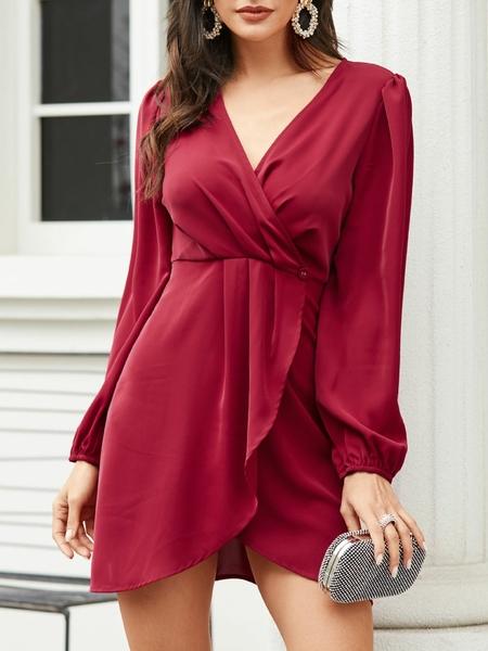 YOINS Burgundy Wrap Design Deep V Neck Long Sleeves Dress