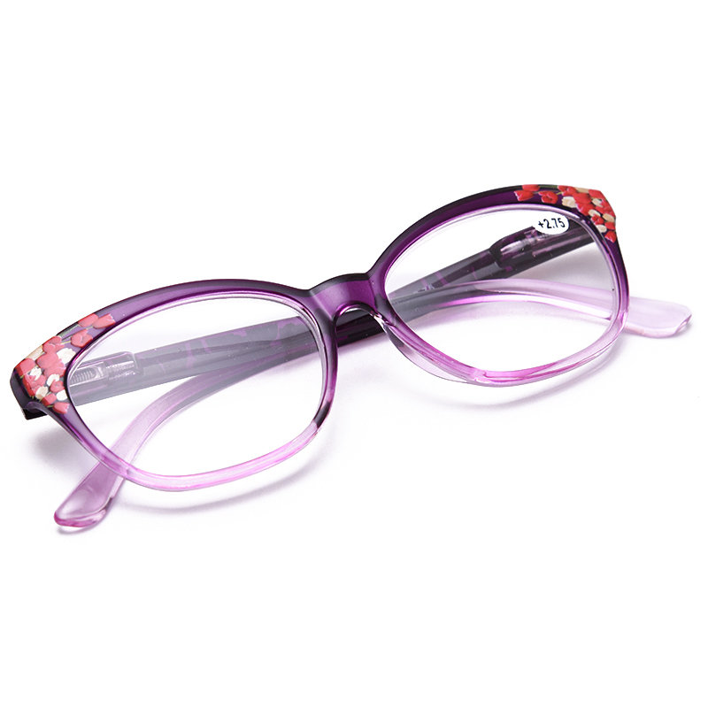 Women Vogue Light Resin Plastic Anti-fatigue Comfortable Computer Cat Eye Reading Glasses
