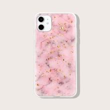 iPhone Huelle mit Goldfolie Dekor und Marmor Muster
