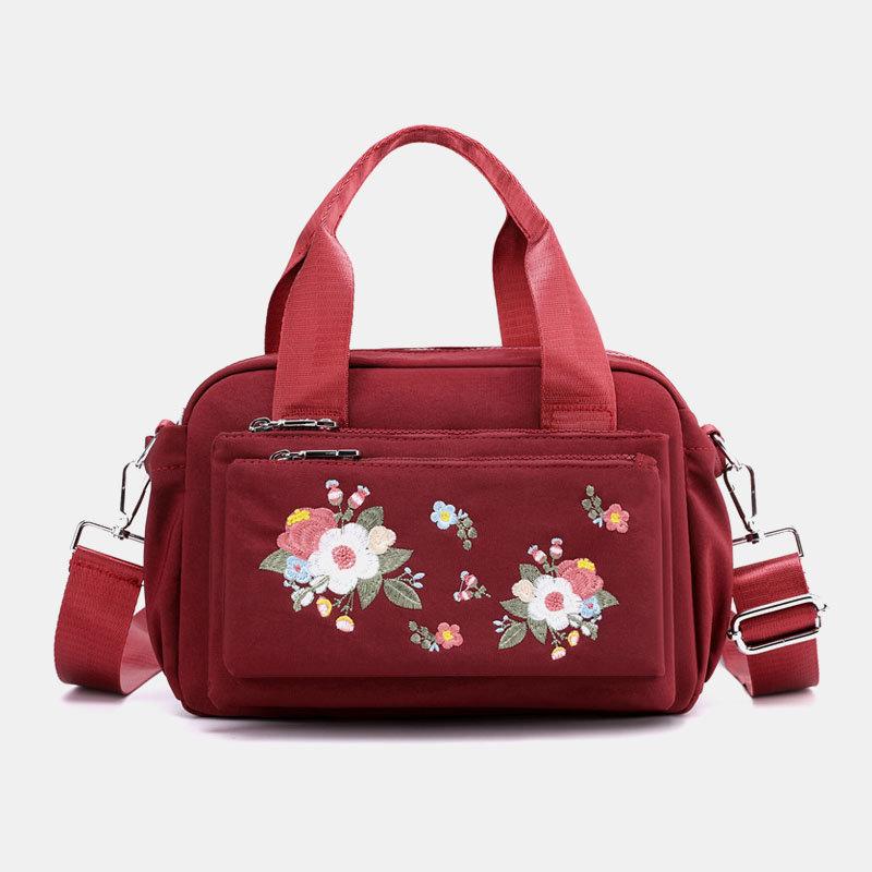 Women Nylon Floral Casual Crossbody Bag Handbag Shoulder Bag