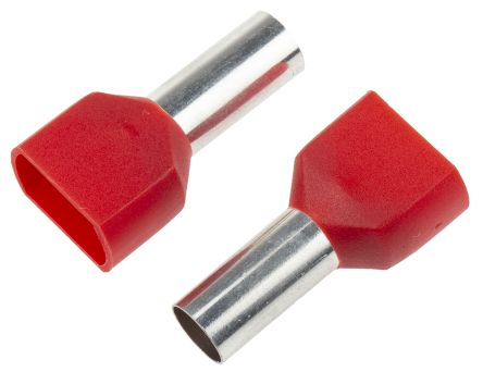 RS PRO Insulated Crimp Bootlace Ferrule, 14mm Pin Length, 6.5mm Pin Diameter, 2 x 10mm² Wire Size, Red (50)