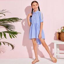 Girls Lace Insert High Low Hem Striped Dress
