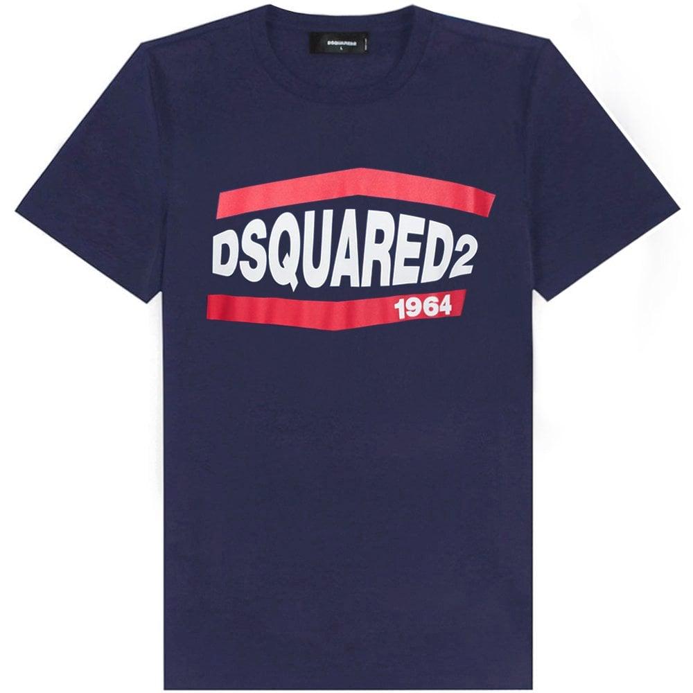 DSquared2 Graphic Logo Print T-Shirt Colour: BLUE, Size: MEDIUM