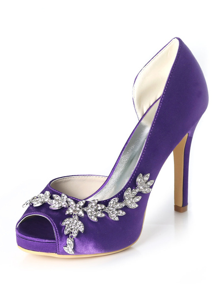 Milanoo Satin Mother Shoes Purple Peep Toe Rhinestones High Heel Wedding Shoes