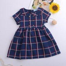 Toddler Girls Peter Pan Collar Plaid A-line Dress