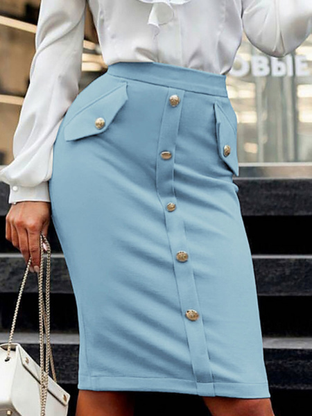 Milanoo Women Skirt Khaki Buttons Elastic Waist Bottoms
