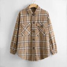 Mantel mit Taschen Klappe vorn und Karo Muster