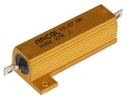Arcol HS50 Series Aluminium Housed Axial Wire Wound Panel Mount Resistor, 47Ω ±5% 50W