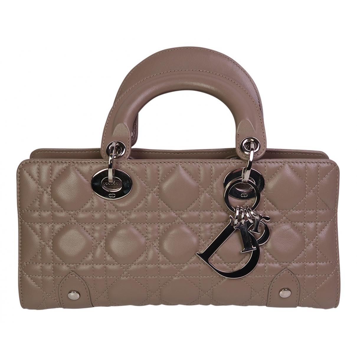 Dior Lady Dior Handtasche in  Beige Leder