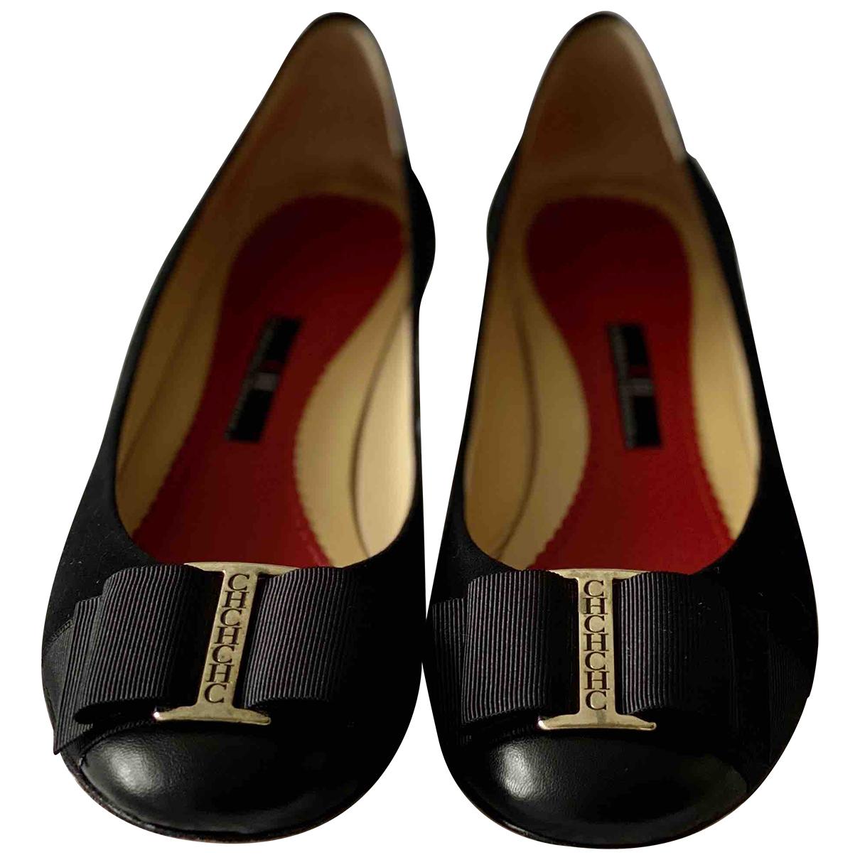 Carolina Herrera N Black Leather Ballet flats for Women 37 EU