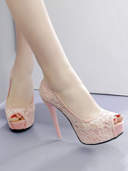 Milanoo Bridal shoes Women High Heels White Peep Toe Pumps Lace Platform Stiletto Heels