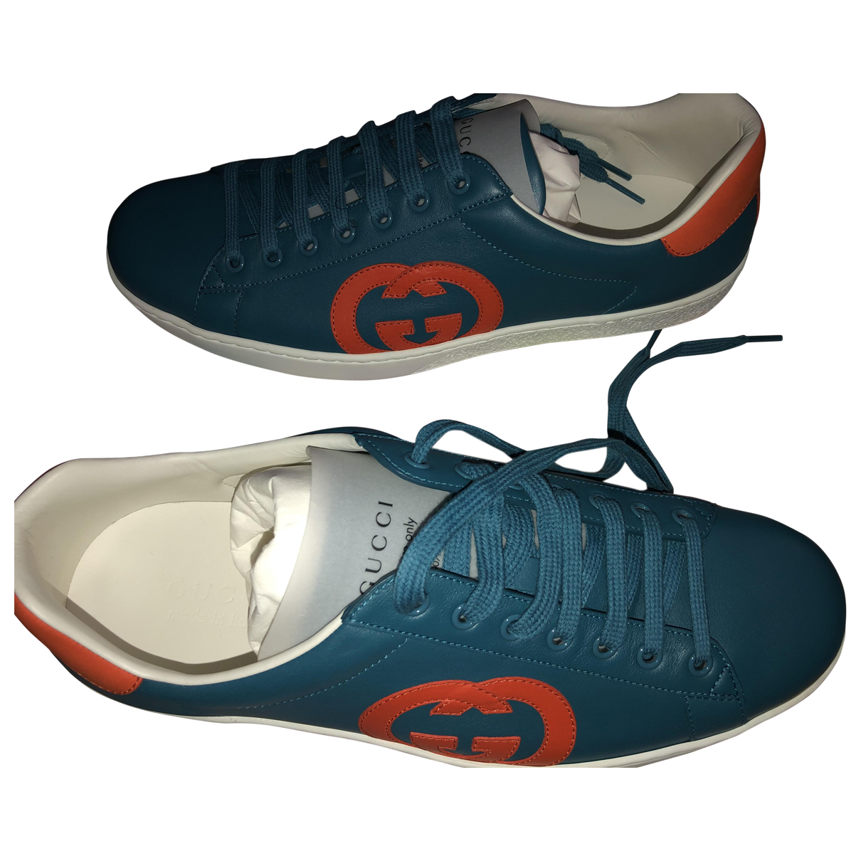 Gucci \N Blue Leather Trainers for Men 10.5 UK
