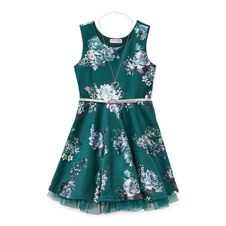 Knit Works Big Girls Sleeveless Skater Dress, Large (14) , Green