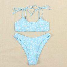Bikini Badeanzug mit Bluemchen Muster und Band auf Schulter