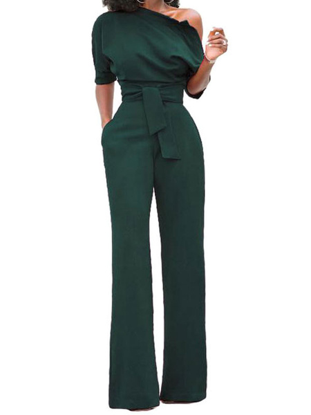 Milanoo Black Women Jumpsuit One Shoulder Short Sleeve Asymmetrical Straight Leg Long Jumpsuits
