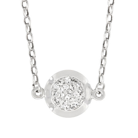 Womens Lab Created White Crystal Sterling Silver Round Pendant Necklace, One Size , No Color Family