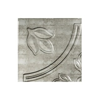 Fasade Traditional Style/Pattern #5 Decorative Vinyl 2ft x 4ft Glue Up Ceiling Tile in Crosshatch Silver (5 Pack) (12x12 Inch Sample)
