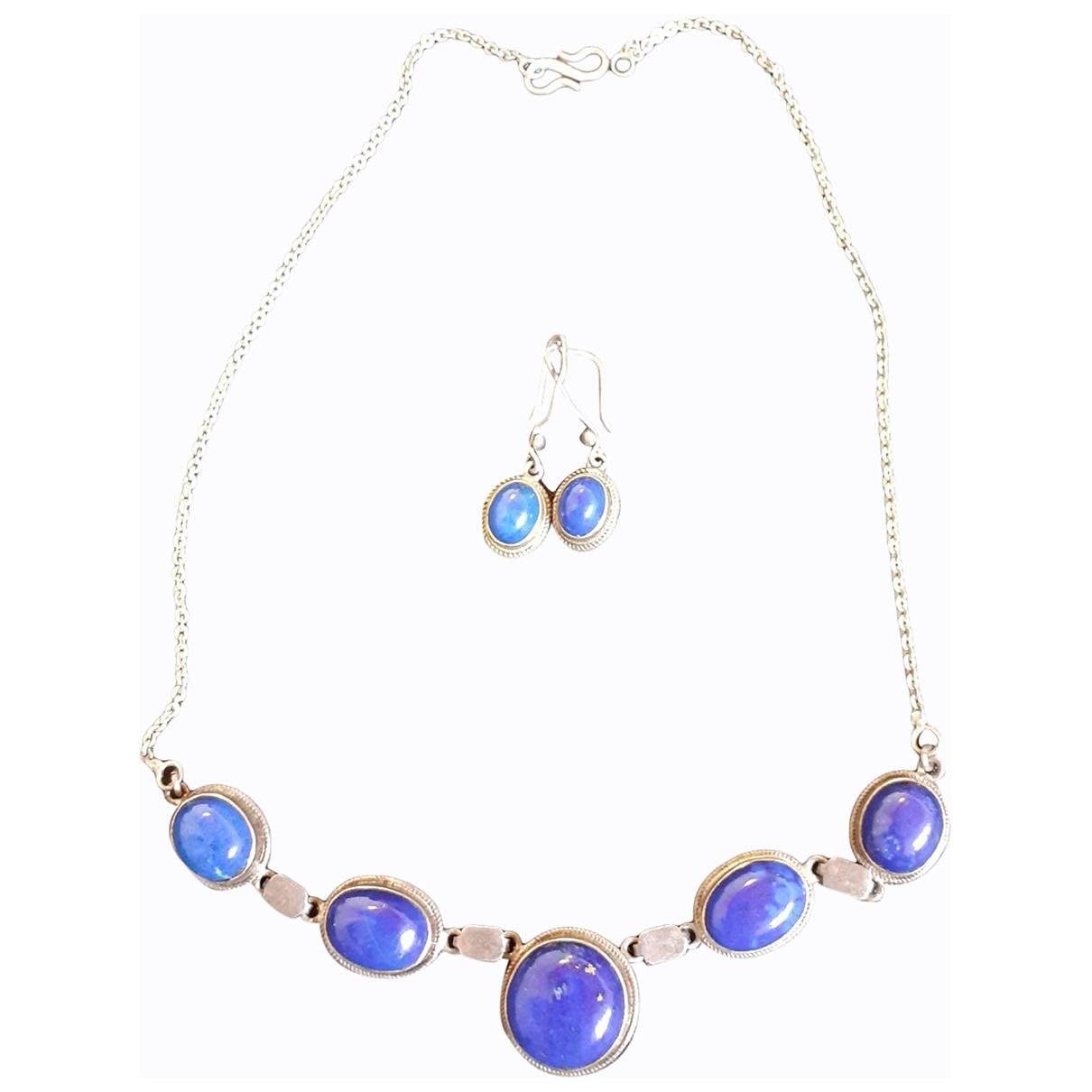 Non Signé / Unsigned Lapis lazuli Blue Metal Jewellery set for Women \N