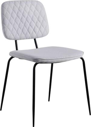 Bertha Collection BERTHA-SC-GRY Side Chair with Diamond Stitch Backrest  Contemporary Style  Matte Black Metal Tapered Legs and Polyester Fabric