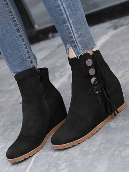 Milanoo Women Ankle Boots Suede Leather Black Round Toe Hidden Heel Short Boots