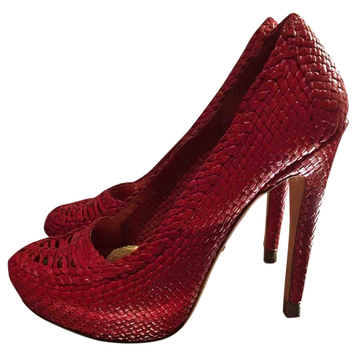 Prada \N Red Leather Heels for Women 38.5 EU