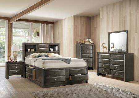 Ireland Collection 22696EKSET 5 PC Bedroom Set with King Size Bed + Dresser + Mirror + Chest + Nightstand in Grey Oak